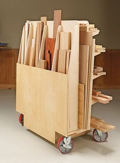, Robust Lumber Cart Woodsmith Plans - Shop space is always at a premium in . , Robust Lumber Cart Woodsmith Plans - Shop space is always at a premium. But this versatile cart deserves its place by providing storage . Easy Woodworking Projects, Woodworking Furniture, Fine Woodworking, Wood Projects, Woodworking Workbench, Woodworking Workshop, Folding Workbench, Japanese Woodworking, Woodworking Basics
