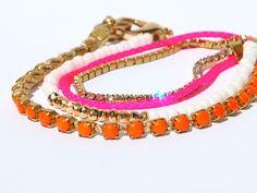 Neon Pink Wrap Bracelet Hot Pink and Orange Finest Rhinestone Chain Bracelet