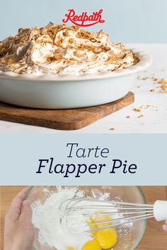 A Prairie staple, the Flapper Pie is a dessert of choice from Winnipeg to Wetaskiwin. With a crisp graham crust, fluffy meringue topping and a deliciously sweet custard filling, it's not hard to understand why. No Bake Treats, No Bake Desserts, Just Desserts, Yummy Treats, Sweet Treats, Yummy Food, Pie Recipes, Baking Recipes, Yummy Recipes