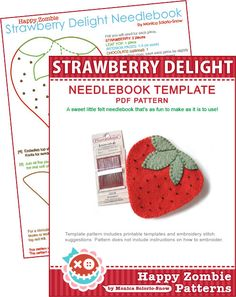 Strawberry Delight - needlebook template PDF by Happy Zombie, via Flickr
