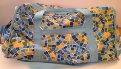 Mosaic Pattern Nylon Duffel Bag In Stitches Blue Green Yellow Shoulder Barrel  #InStitches #DuffleGymBag