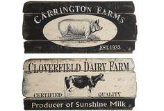 Vintage Farm Signs - From Antiquefarmhouse.com - http://www.antiquefarmhouse.com/current-sale-events/vintage-kitchen-decor/vintage-farm-signs.html