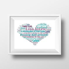 Gift for Best Friend Personalised Loves Heart Print in your choice of words and colours.    Gift for mum, Gift for Sister, Gift for Bridesmaid, BFF gift  www.pepperdoodles.co.uk