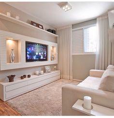 Ideia para sala em SP Modern Tv Wall Units, Living Room Tv Unit Designs, Tv Wall Decor, Wall Decorations, Tv Wall Design, Small Apartments, Living Room Decor, New Homes, Interior Design