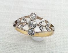 "Antique 1910s Edwardian ""Helen's Wreath"" 18K Gold, Platinum, Diamond Branches Ring - Engagement / Anniversary"
