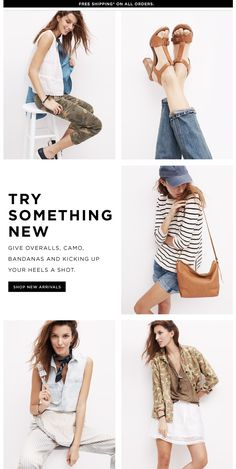 SIMPLE, READABLE, INTERESTING GRID LAYOUT FOR IMAGES, THEN ONE BLOCK FOR A DESCRIPTION Madewell.com