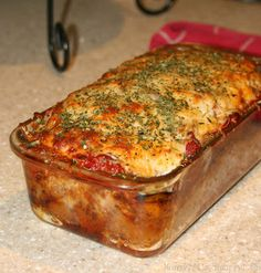 Parmesan Meatloaf - Delicious!  I don't like meatloaf, but I loved this.  It tasted like a meatball.  I cooked mine in my Pampered Chef brownie pan, so I had smaller loaves instead of one giant one.