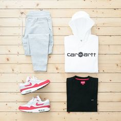 "639 Likes, 10 Comments - jaybeez (@jaybeezishangintough) on Instagram: ""coy #outfitgrid #Highsnobiety x #CarharttWIP hoodie / #Supreme tee / #RaisedByWolves sweatpants /…"""