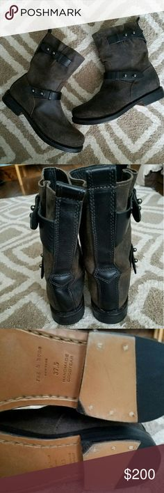 Rag & bone  moto boots Beautiful waxed calfskin leather.  Never worn outside. They are size 7 12 but run little smaller. Best fit for size 7. rag & bone Shoes Ankle Boots & Booties
