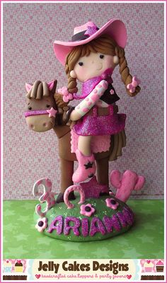 Vintage Cowgirl Keepsake cake topper by Jelly Cakes Designs