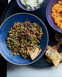 This easy dip is satisfyingly chunky, combining briny green olives and toasted walnuts in a delectable pomegranate dressing.