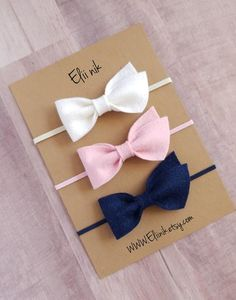 Set of 3 bow headband in color pastel pink, white and navy headband measure approximately x attached to the skinny elastic headband. Chose your colors and leave me a note in note to seller box at checkout. Felt Headband, Flower Girl Headbands, Newborn Headbands, Elastic Headbands, Crochet Headbands, Baby Girl Bows, Baby Girl Gifts, Girls Bows, Making Hair Bows