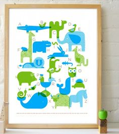 Mod Animal Alphabet Poster by Petit Collage
