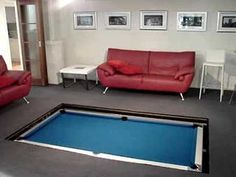 Secret pool table disappears into the floor - This is a lot of work, but what a spacesaver!