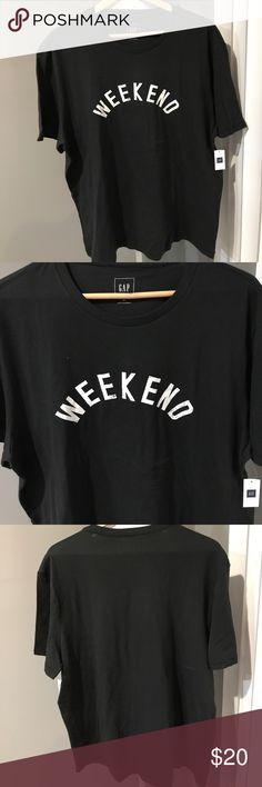 ⚡️ HP⚡️GAP TEE (WEEKEND) Black/White NWT/XL GAP TEE (WEEKEND) Black/White NWT/XL 💯Cotton GAP Shirts Tees - Short Sleeve