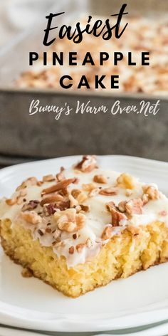 Easiest Pineapple Cake is a one bowl wonder made without oil or butter in the homemade cake batter. Easy Pineapple Cake, Pineapple Desserts, Pineapple Recipes, Easy Cake Recipes, Easy Desserts, Dessert Recipes, Oreo Desserts, Plated Desserts, Sweet Recipes