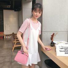 Mihoshop Ulzzang Korean Korea Women Fashion Clothing Summer stripe short sleeve two dress Ruffles Preppy //FREE Shipping Worldwide //
