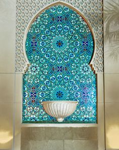 Gorgeous turquoise Moroccan.. Handmade tiles can be colour coordinated and customized re. shape, texture, pattern, etc. by ceramic design studios