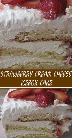 Icebox Desserts, Icebox Cake Recipes, Cake Mix Recipes, Frozen Desserts, Cupcake Recipes, Easy Desserts, Delicious Desserts, Strawberry Dessert Recipes, Fruit Recipes