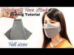 At Home Face Mask, Easy Face Masks, Homemade Face Masks, Diy Face Mask, Sewing Patterns Free, Sewing Tutorials, Sewing Hacks, Mascara 3d, Simple Face