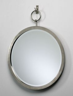 "Round Hanging Mirror with Hooked Iron Frame in Polished Chrome 23"" - treasurecombers"