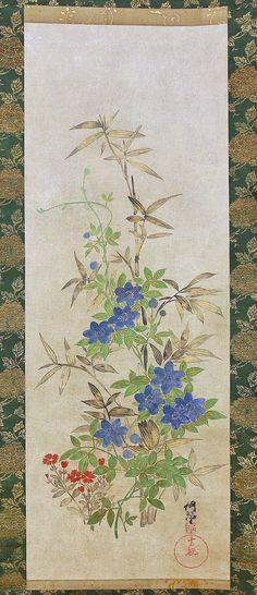 "OGATA KORIN. Japanese hanging scroll. (1658~1716)""Bellflower,"" Ogata Korin is known as the ancestor of Rin-pa (Rinpa or Rimpa)."