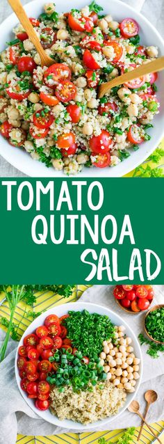 It's time to add another tasty quinoa recipe to our meal prep game! This Tomato Quinoa Salad is fast, flavorful, and easily made in advance for speedy lunches and sides for work, school, or home! #mealprep #makeahead #lunch #salad #healthy #quinoa #chickpeas