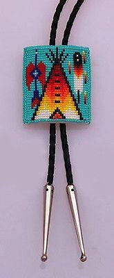 Native-American-Handmade-Beaded-Tipi-Design-Bolo-Tie