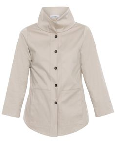 In keeping with Vitamin's signature styles and fits, this jacket is chic and versatile. This button-down jacket, in a classic tan color, features front pockets and a collar that can be worn up or folded down. Crafted from heavier weight cotton sateen, the fabric adds structure and style to its silhouette. Consider pairing it with slim black trousers, ballets flats and gold jewelry for a sophisticated ensemble.