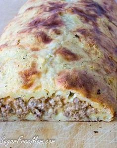 Low Carb Grain Free Bacon Cheeseburger Calzone