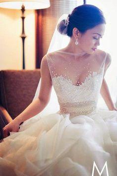 A Veluz Reyes wedding gown with a sheer top and detailed bodice. Best Wedding Dresses, Wedding Attire, Bridal Dresses, Wedding Gowns, Lace Wedding, Veluz Wedding Dress, Elegant Wedding, Wedding Bride, Rhinestone Wedding