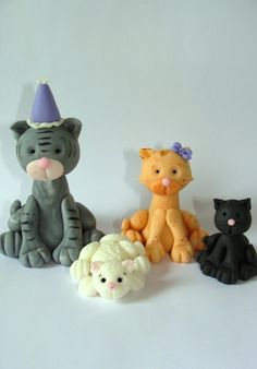Edible Fondant Cake Toppers Kitties by SugarDoughDesigns on Etsy