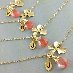 Set of 6, Coral Bridesmaids Bracelet, Bridesmaid Gift, Bridesmaid Initial Bracelet, Wedding Jewelry, Orchid, Quartz, Initial, Gold, Gemstone