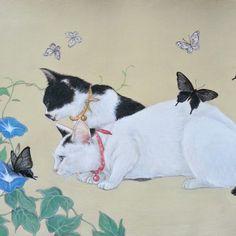 'Morning Glory and Cats' Ochiyopi Cat Plants, Frida Art, Japanese Cat, Korean Art, Japanese Painting, Illustrations, Japan Art, Cat Drawing, Cute Illustration