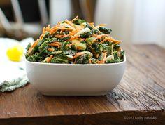 5-Step Raw Kale Salad with sweet tahini dressing
