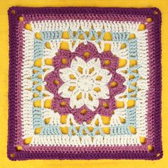The English Garden Afghan Square is a crochet granny square that features rows of unique stitches and bright, vivid colors. This crochet square would make a perfect accent square in a crochet granny square afghan, and would look great in any color. Point Granny Au Crochet, Grannies Crochet, Crochet Squares Afghan, Granny Square Crochet Pattern, Crochet Blocks, Crochet Motif, Crochet Stitches, Crochet Patterns, Blanket Crochet