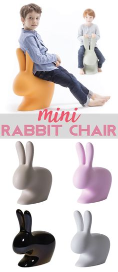 A contemporary addition to any home, your children can enjoy the Rabbit chair's charming design by sitting down and leaning back against the rabbit's ears or on the opposite side, riding and leaning arms on its ears. #mini #rabbit #chair #qeeboo #afflink #kidsroom
