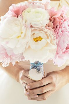 #pink #peony #bouquet Photography by onelove-photo.com, Florals by http://www.thelittlebranch.com  Read more - http://www.stylemepretty.com/2013/09/17/santa-monica-wedding-from-onelove-photography/