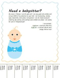 Babysitter Description Babysitting Flyers And Ideas Free Templates