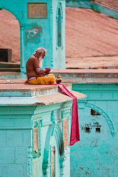 Turquoise | Aqua | culture, old man praying / meditating