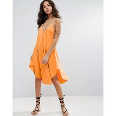 ASOS Cami Beach Dress with Dipped Hem ($35) ❤ liked on Polyvore featuring dresses, orange, cami dress, strappy cami, loose dresses, v-neck camisoles and v neck cami