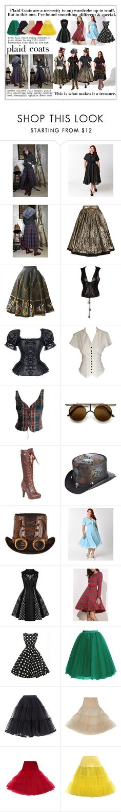 """plaid coat, but different...etsy"" by caroline-buster-brown ❤ liked on Polyvore featuring Versace, Gianfranco Ferré, Moschino, ZeroUV, Buy Seasons, Overland Sheepskin Co., Hell Bunny and plus size dresses"