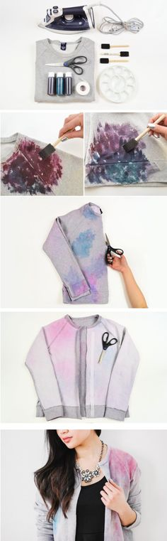 When it comes to fabric dye, the project possibilities are literally endless — from ombre scarves to canvas totes. But rather than getting overwhelmed by the options, check this out — the perfect first-time dyeing DIY. Inspired by watercolor paints and springtime shades, this sweatshirt/jacket hybrid is just what you need to brighten up a rainy day. Simply pick out dyes in your favorite colors, and you'll be that much closer to making a wearable work of art.