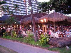 Hula Grill at sunset.  One of our other favorites at Whalers Village ( right across the walkway from Leilani's Grill).