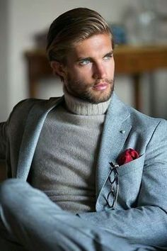 Nice suit ans style with turtleneck