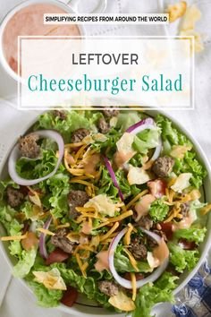 Leftover cheeseburger salad drizzled with homemade dressing and topped with crumbled chips is a quick and easy meal perfect for lazy weekdays. | allthatsjas.com | #BBQ # salad #leftover #cheeseburger #glutenfree #quick #easy #recipeofthemonth #grilling