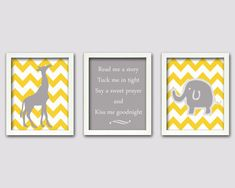 Elephant and Giraffe Art Grey and Yellow Nursery by ChicWallArt, $32.00