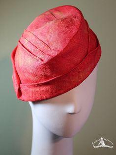 Coral Red Women's Straw Cloche Hat - Spring Summer Straw Women's Hat - Vintage Inspired Hat - OOAK