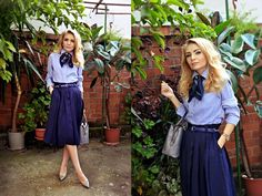 Andreea A - Bubble 'N Chic Shoes, Bubble 'N Chic Bag, Marie Lund Shirt - Preppy Blues | LOOKBOOK