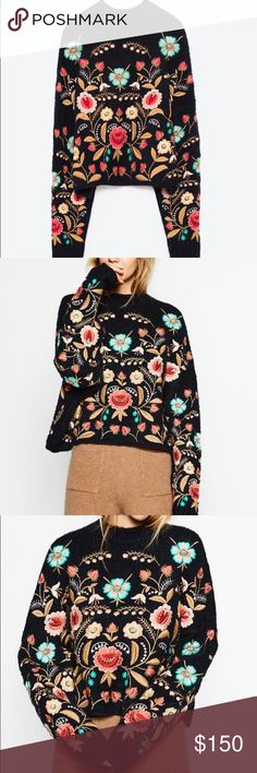 ZARA EMBROIDERED SWEATER Brand new with tags, size small, navy blue color with multicolor embroidery. Not part of the bundle discount, price firm. Zara Sweaters Crew & Scoop Necks